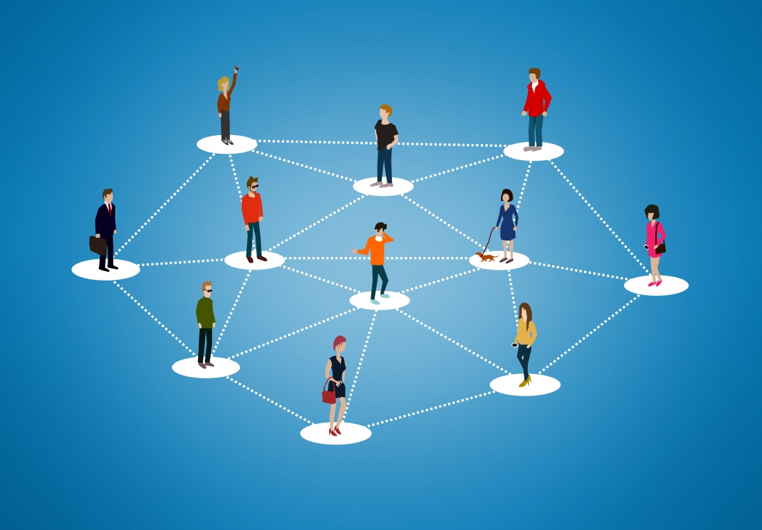 The social network – People networking and creating bonds, conta